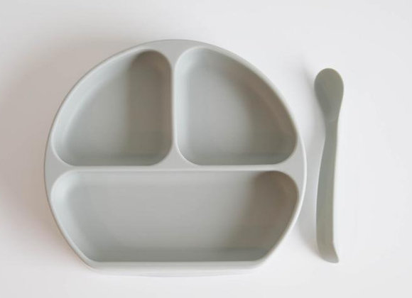 Sage Suction Plate with Lid + Spoon Set (뚜껑+ 스푼)