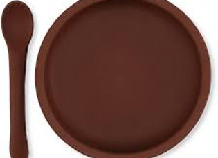 Silicone Suction Plate - Mocca