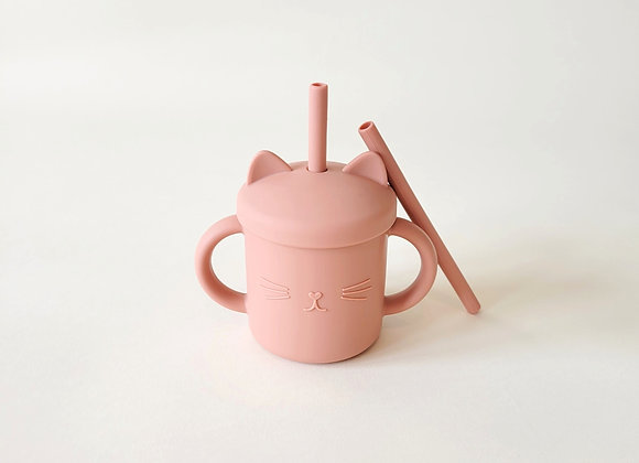 Meow Double Handle Straw Cup - Terra Cotta