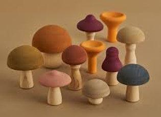 Wooden Mushroom Set