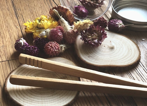 Dried Flowers + wood tong kit