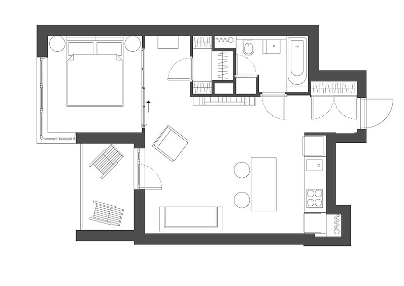 Sunday12 Interior design project smart loft plan apartment Central Park Kyiv