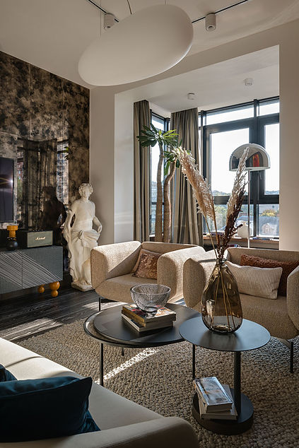 Sunday12 Interior design project Textural Boom living room apartment Jack House Kyiv