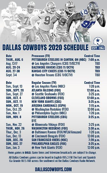 Dallas Cowboys 2020-2021 Football Schedu