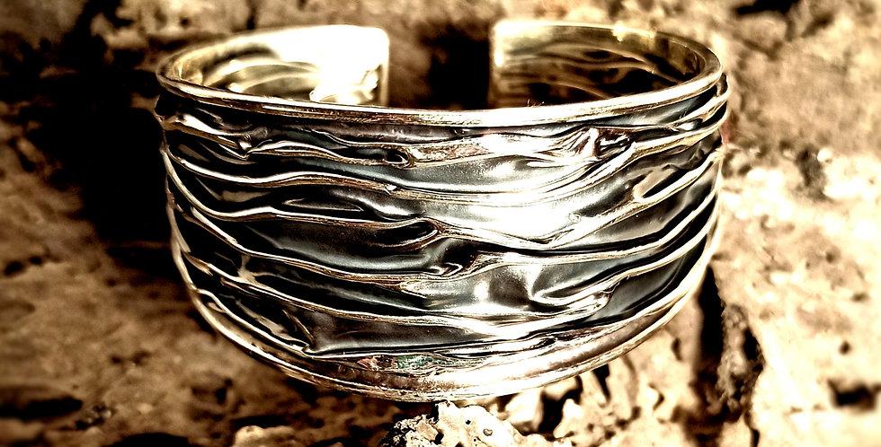 Armbånd i oxyderet krøllet sølv - 30 mm - Curly girl