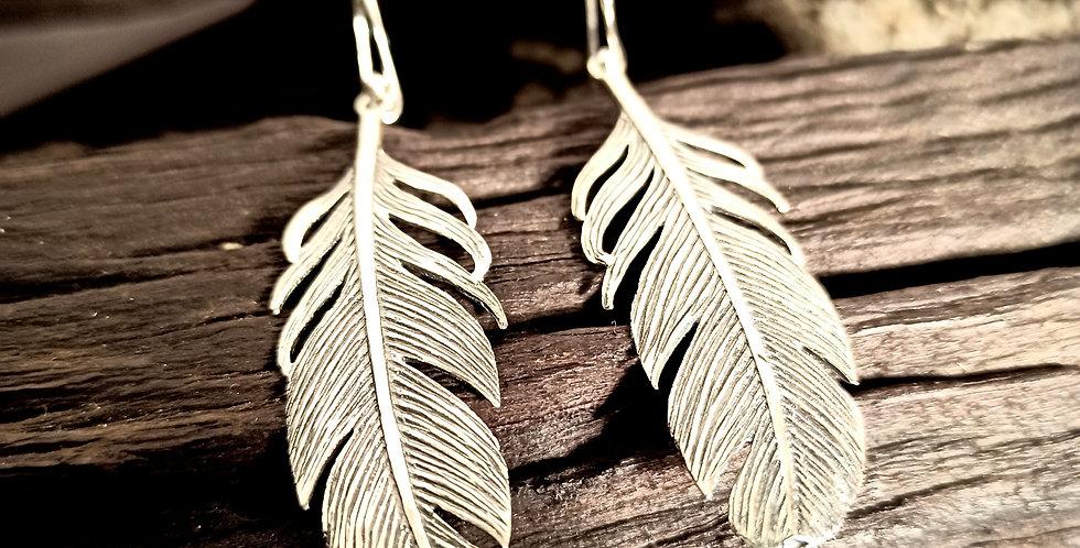 Sølvøreringe formet som blad - leaf