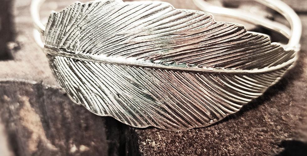 Fast sølvarmbånd med blad - Leaf