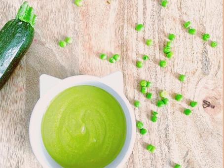 Zucchini-peas-sweet potato puree