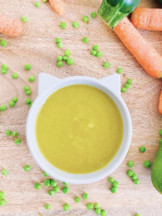 zucchini-peas-carrot puree