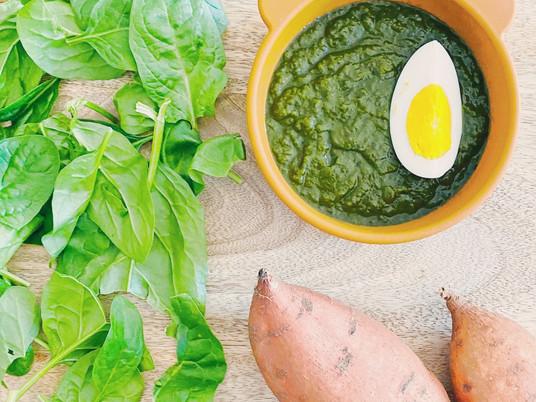 Spinach-sweet potato-egg
