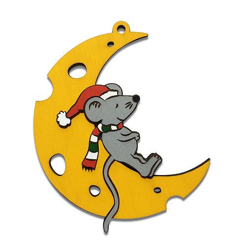 Символ нового года елочная игрушка - Крыса на луне