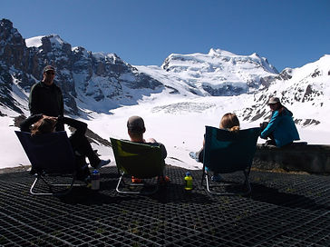Group of adventurers enjoying the glacier views