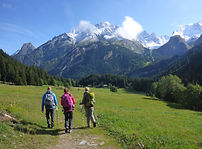 Hikers on the Vanoise tour in the Alps in France