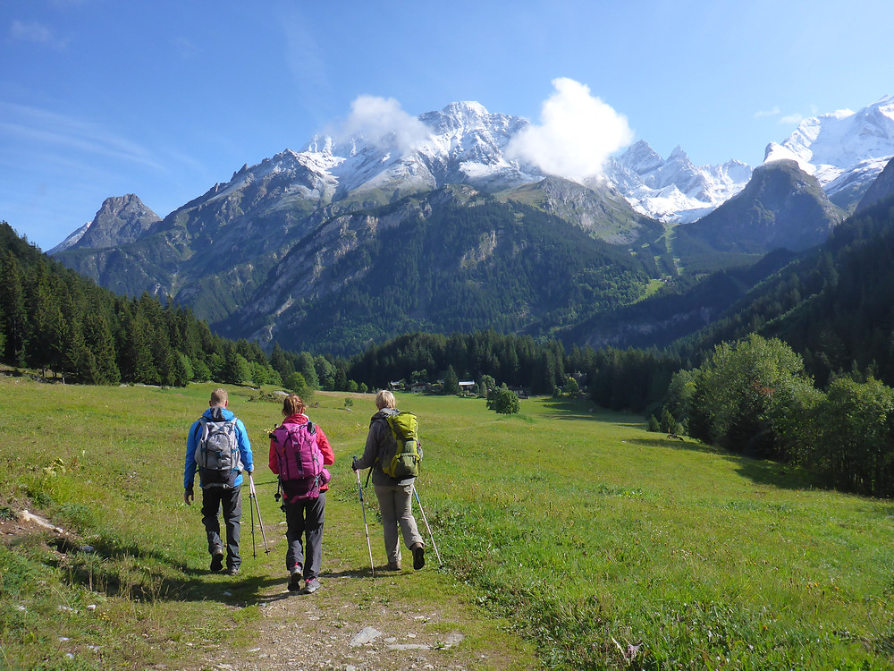Three hikers from behind in full outfit facing the Alps' mountain range in summer