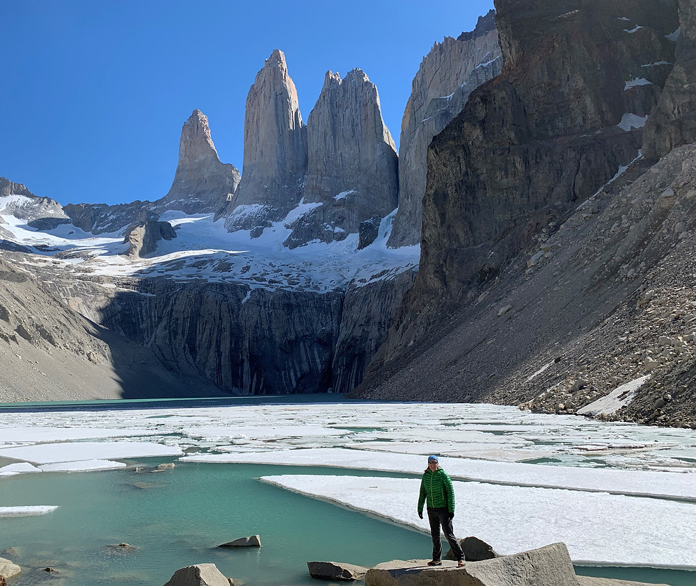 Afternoon views of Las Torres in Torres del Paine NP Chile