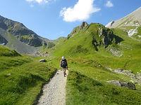 Hiker on Tour du Mont Blanc near Col du Bonhomme