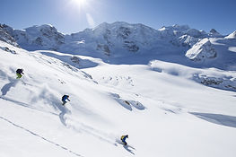 Backcountry skiing in the Alps in winter