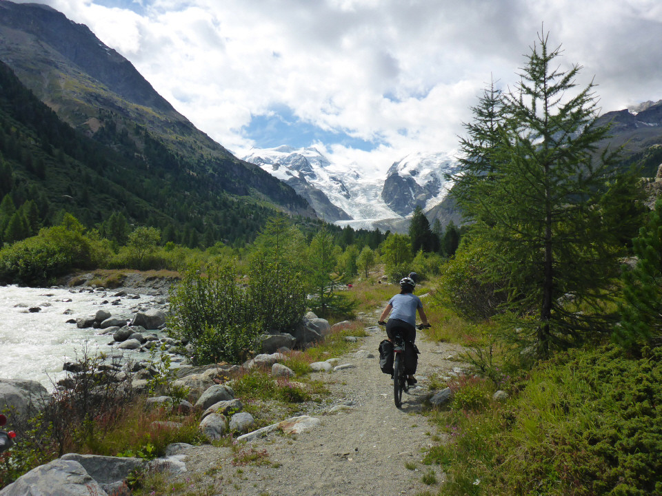 Mountain biking near the Morteratsch Glacier
