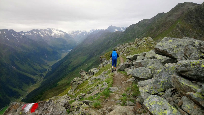 Trekking in the Alps with panorama views