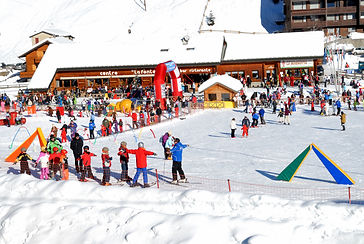 Skiing school in the Alps in winter