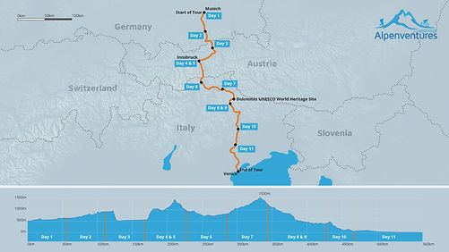 Munich toVenice Bike Tour Map