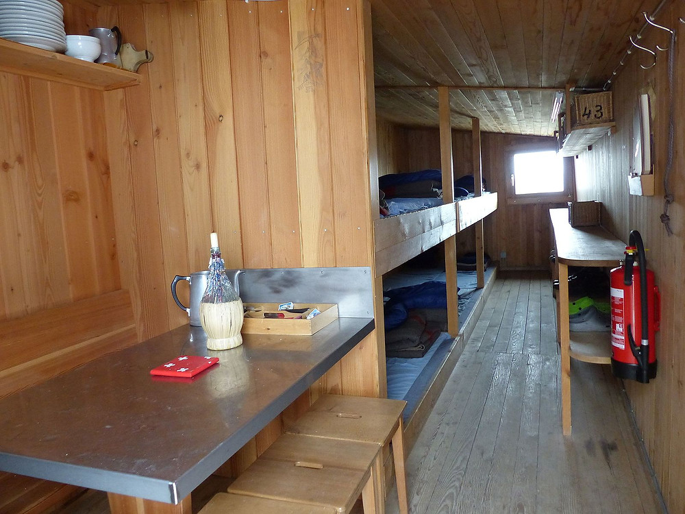 Inside of a winter room of a mountain hut