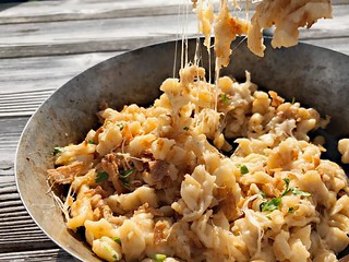 Käsespätzle (Cheesy Noodles) - A Taste of the Alps Series