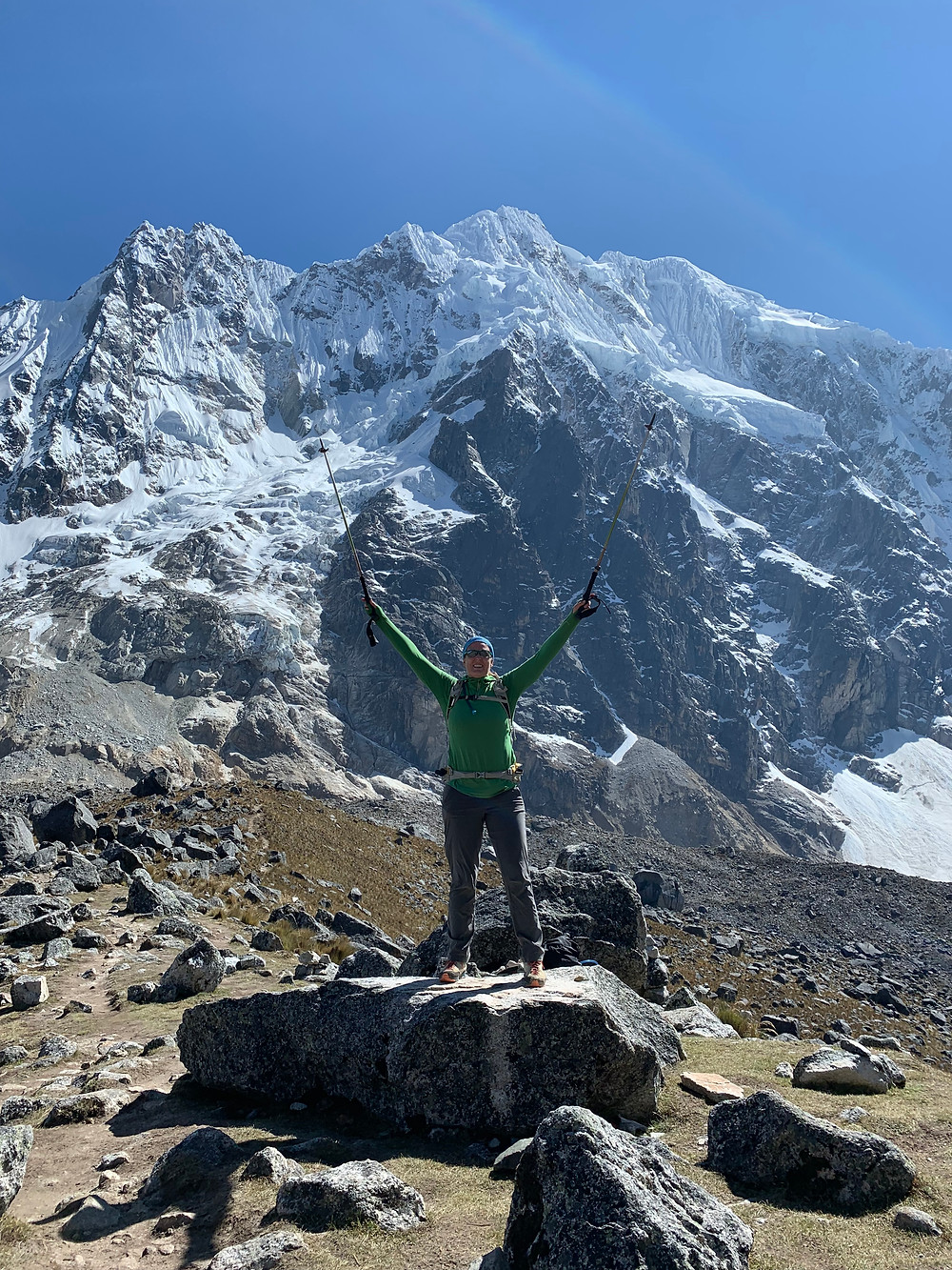 Celebrating arrival at Salkantay Pass