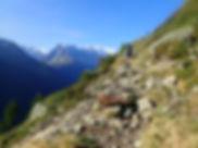 Hiker on Alta Via 1 trek