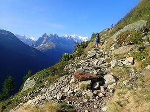 Hiker on the Tour du Mont Blanc trek