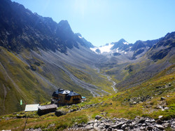 Alps in Austria with mountain hut