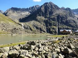 Mountain hut in Austria near lake