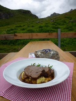 Culinary food at mountain hut