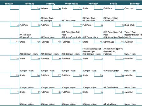 Varsity/JV August Schedule