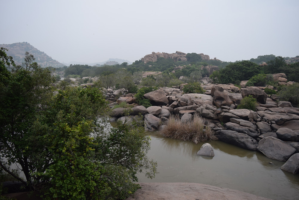 View from our room at Hampi boulders