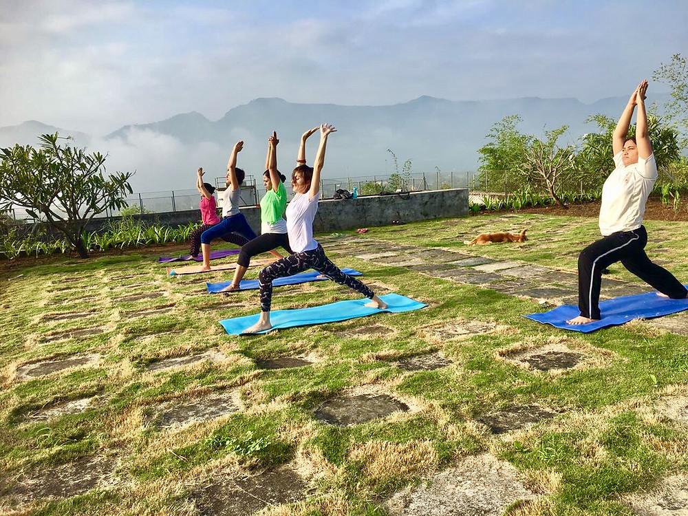 Yoga in the morning at Chinmaya Vibhooti