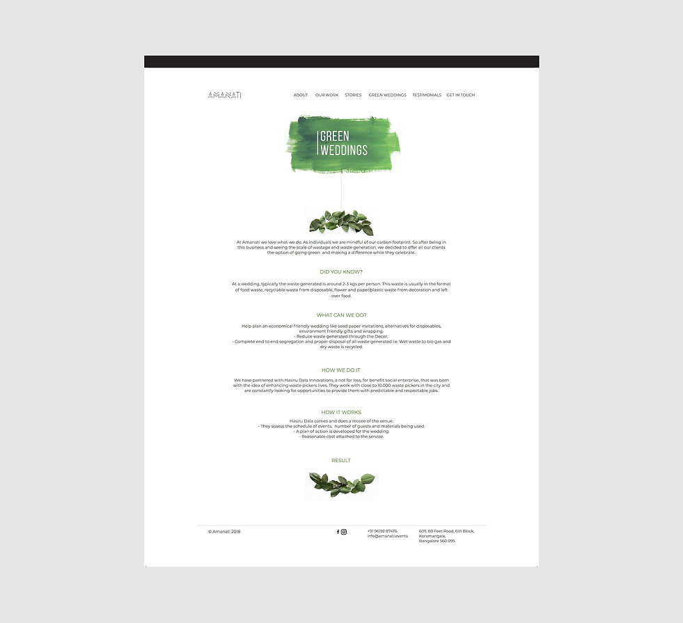 Amanati Website Green Weddings Page