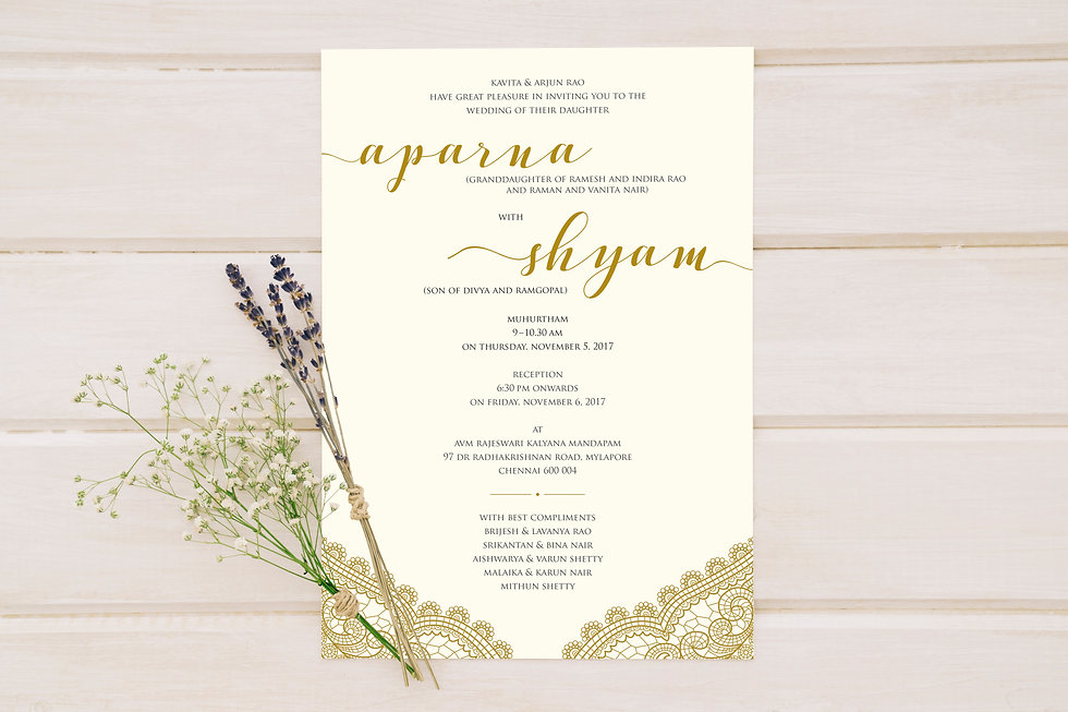 Aparna and Shyam Wedding Invite