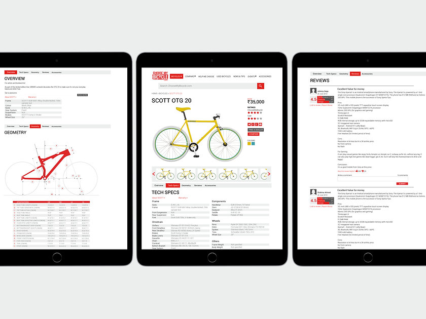 ChooseMyBicycle.com Individual Pages Website Design