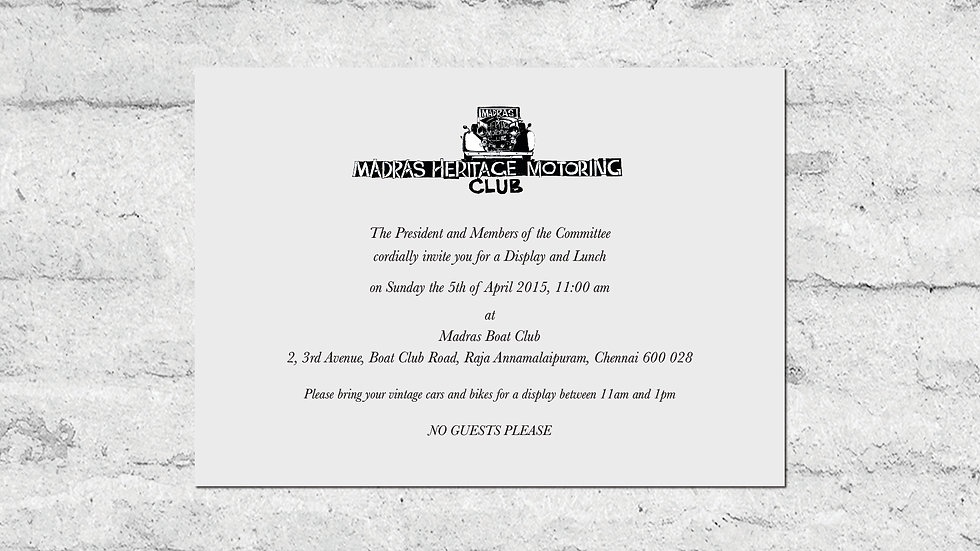 Madras Heritage Motoring Club Lunch Invite Back