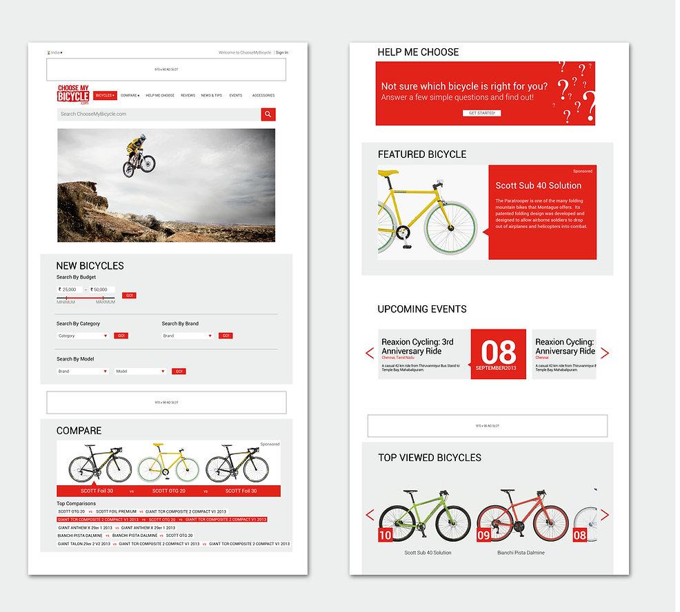 ChooseMyBicycle.com Homepage Design