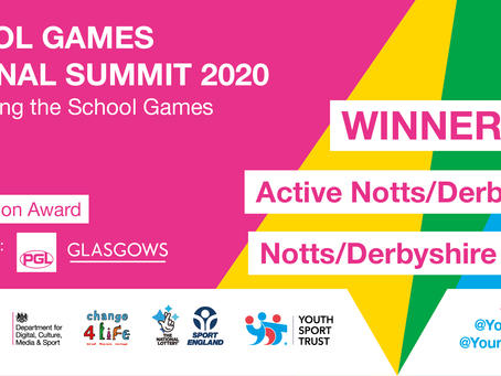 National Award For School Games Collaboration Work In Derbyshire