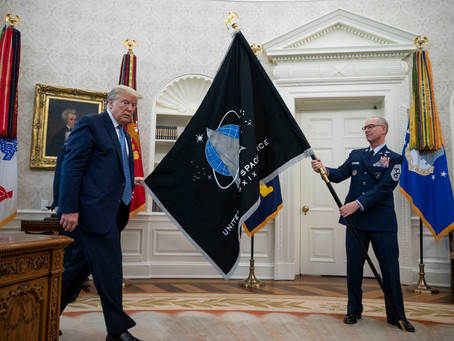 US Space Force Flag Presented To Trump