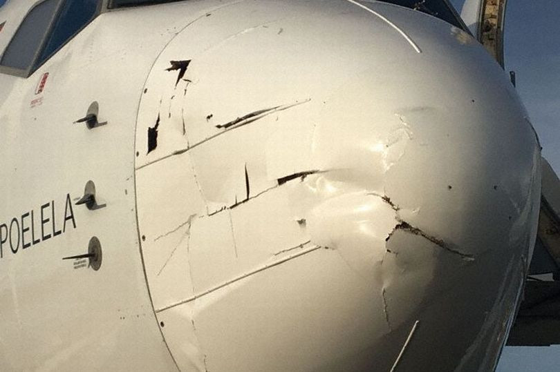 A drone's hit mark on the fuselage of a plane