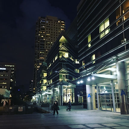 Yigal Alon business district at night
