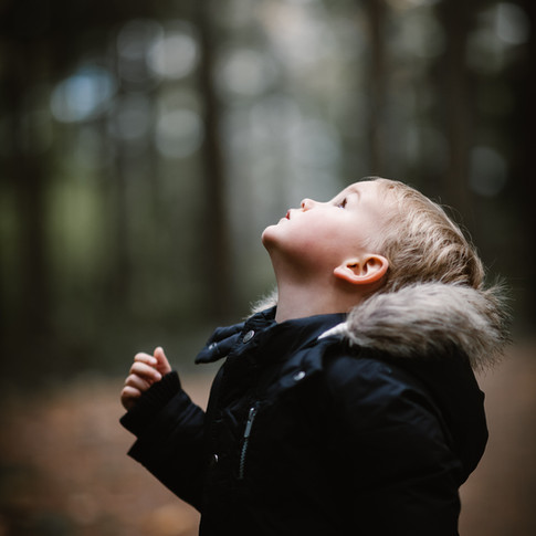 portrait if a child wearing a fur trimmed coat looking upwards in the woods.