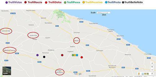 Karte von Apulien, Apulienstädten, Trulli-Standorten in Ostuni, Trulli-Standorten in Apulien. TrulliVistas, TrulliRoccia, TrulliPesto, TrulliPecorino, TrulliDolce, TrulloBelloNido, TrulliPesca, Flughafen Bari, Flughafen Brindisi, unsere Trulli-Sammlung auf der Karte