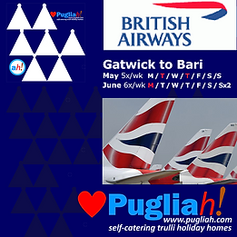 flights to Bari, flights to Brindisi, flights to Puglia, BA Bari, BA Brindisi, getting to Puglia, getting to Apulia, Puglia nearest airport