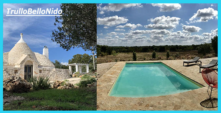 TrulloBelloNido, 2 bedroom, 2 bathroom gem of a holiday trulli, to let, to rent with private pool.  Stunning countryside retreat.  Poolside pergola, outdoor dining, wood-burning pizza oven.  Baci court.