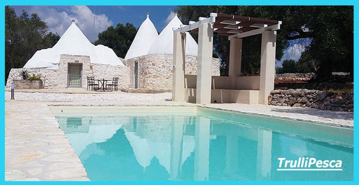 TrulliPesca, 2 bedroom, 2 bathroom, private pool holiday home, vacation home to rent, to let. Rural retreat  in the Ostuni (Puglia, Italy) countryside. Accommodation for up to 4 guests.  Whole house